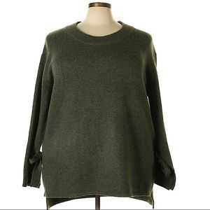 Green Pullover Sweater with Tie Sleeves